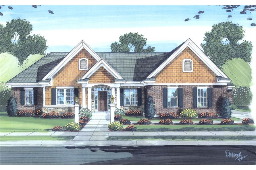 Front elevation of Traditional home (ThePlanCollection: House Plan #169-1068)