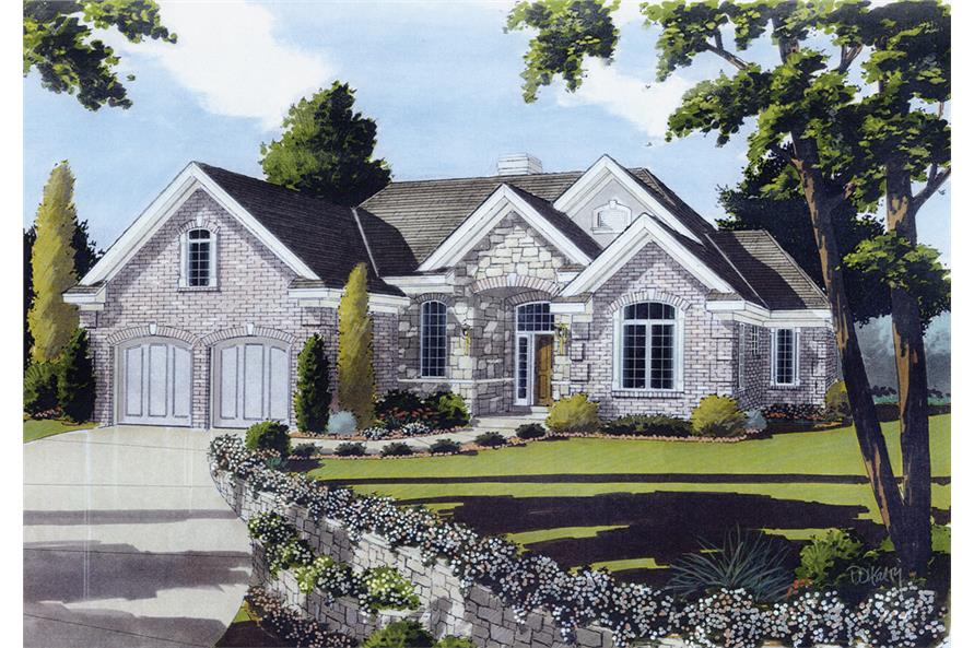 Front elevation of European home (ThePlanCollection: House Plan #169-1069)