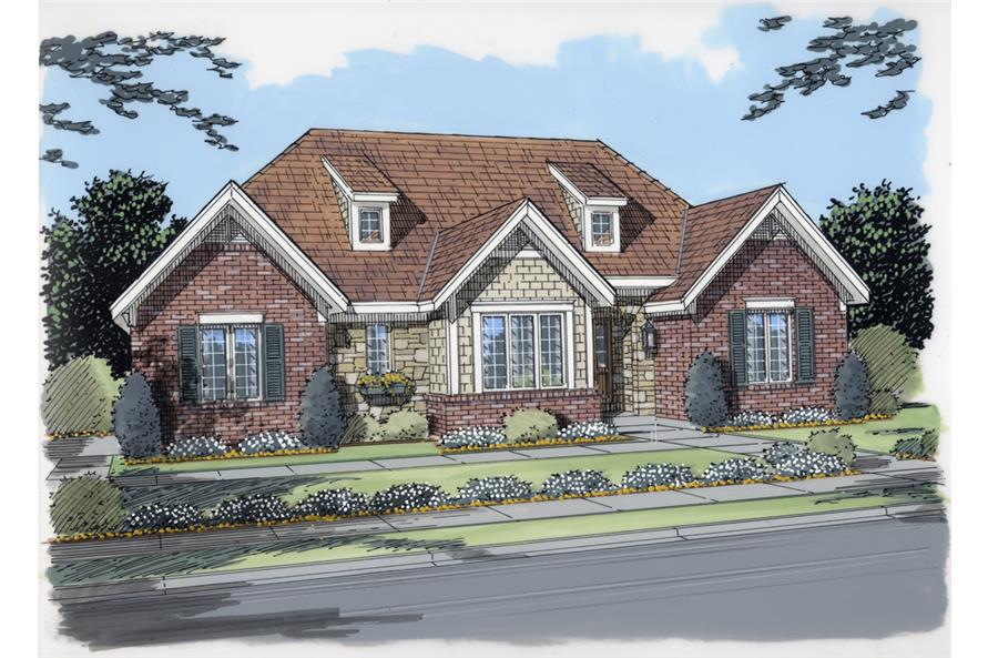 Front elevation of Ranch home (ThePlanCollection: House Plan #169-1071)