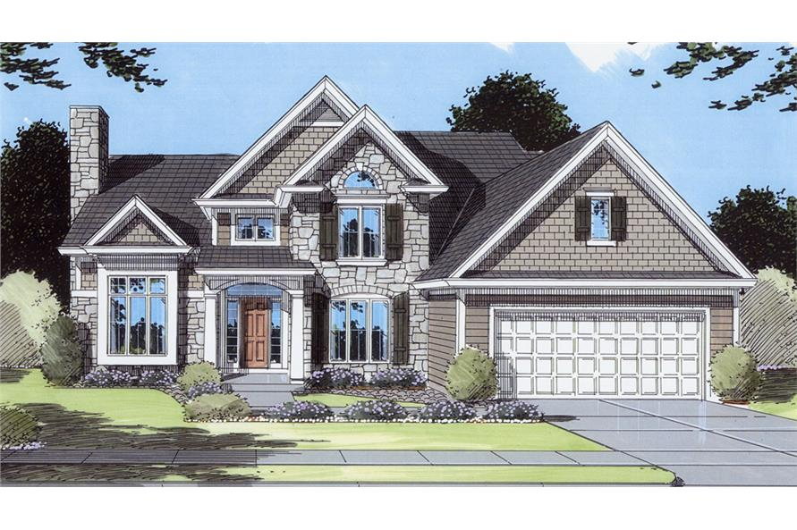 Front elevation of Transitional home (ThePlanCollection: House Plan #169-1072)