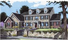 Front elevation of Colonial home (ThePlanCollection: House Plan #169-1073)