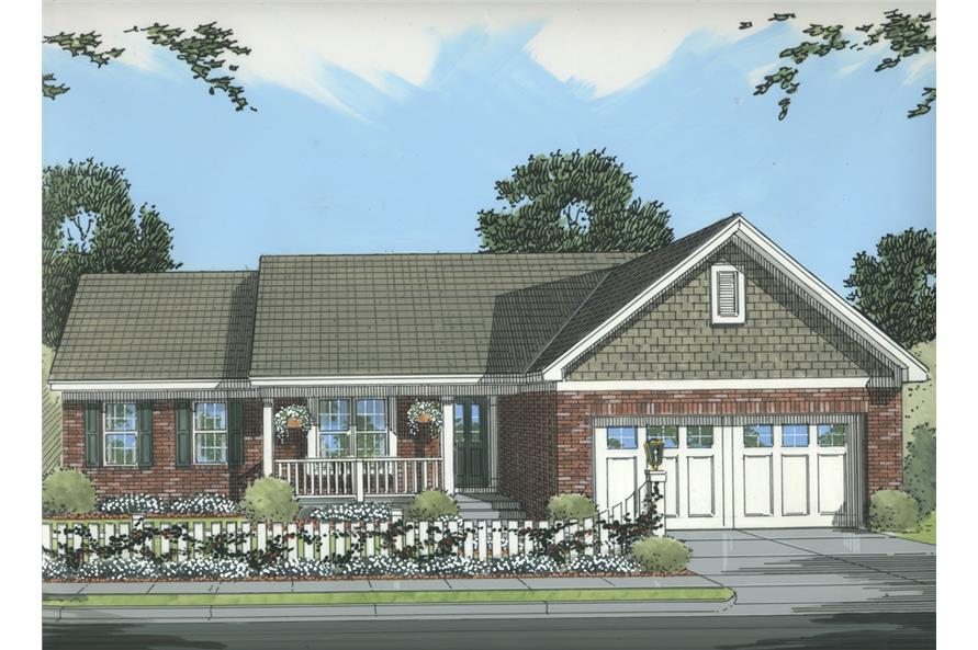 Front elevation of Cottage home (ThePlanCollection: House Plan #169-1076)