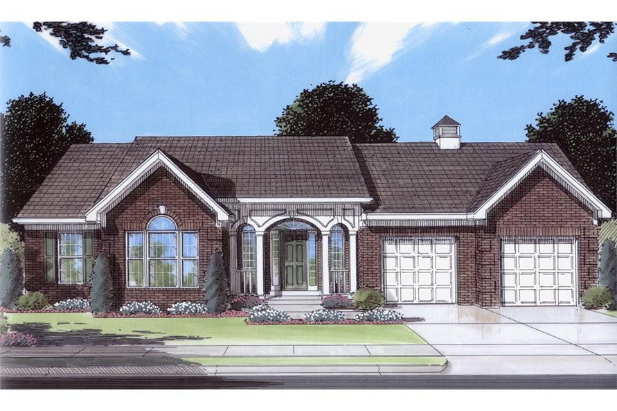 Front elevation of Traditional home (ThePlanCollection: House Plan #169-1077)