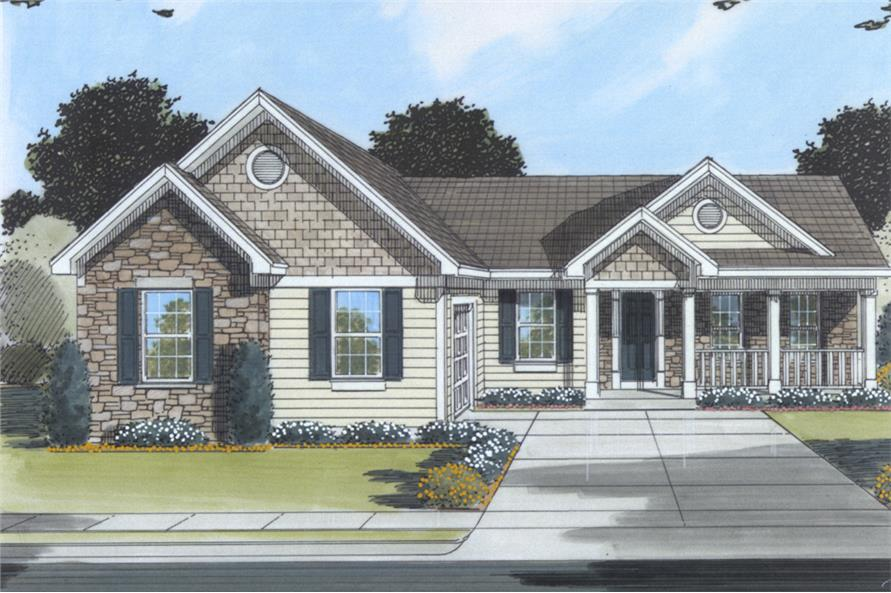 Front elevation of Country home (ThePlanCollection: House Plan #169-1080)