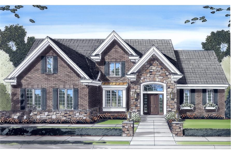 Front elevation of Craftsman home (ThePlanCollection: House Plan #169-1083)