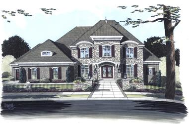 Front elevation of European home (ThePlanCollection: House Plan #169-1084)