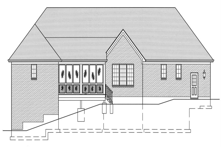 169-1086: Home Plan Rear Elevation