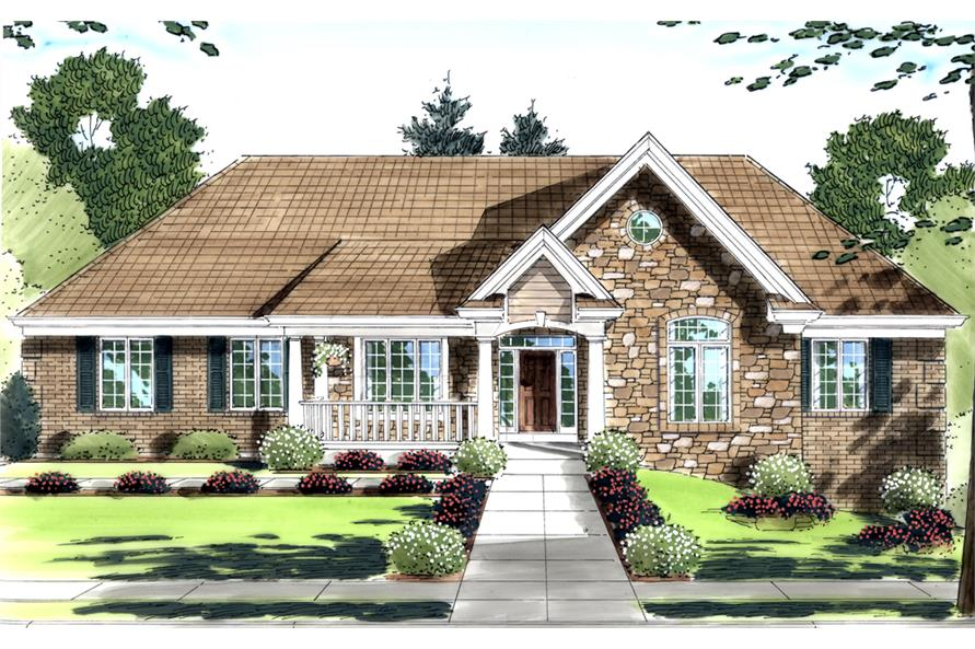 Front elevation of Country home (ThePlanCollection: House Plan #169-1086)