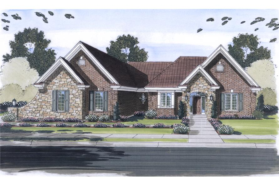 Front elevation of Traditional home (ThePlanCollection: House Plan #169-1087)
