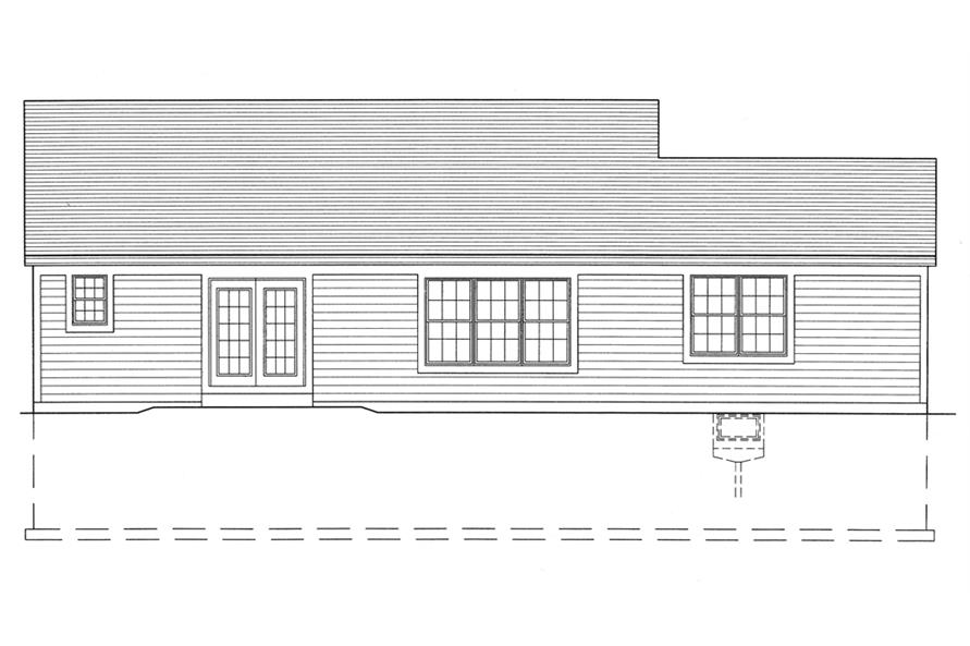 Home Plan Rear Elevation of this 3-Bedroom,1569 Sq Ft Plan -169-1088