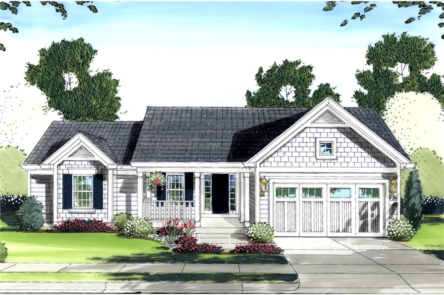 3-Bedroom, 1569 Sq Ft Traditional House Plan - 169-1088 - Front Exterior