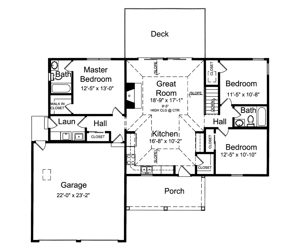 Traditional House Plan 3 Bedrms 2 Baths 1321 Sq Ft