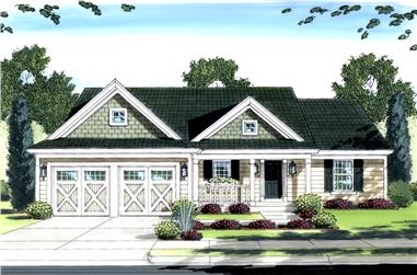 3-Bedroom, 1321 Sq Ft Traditional House Plan - 169-1089 - Front Exterior