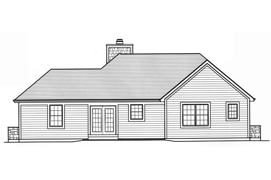 Home Plan Rear Elevation of this 3-Bedroom,1309 Sq Ft Plan -169-1090