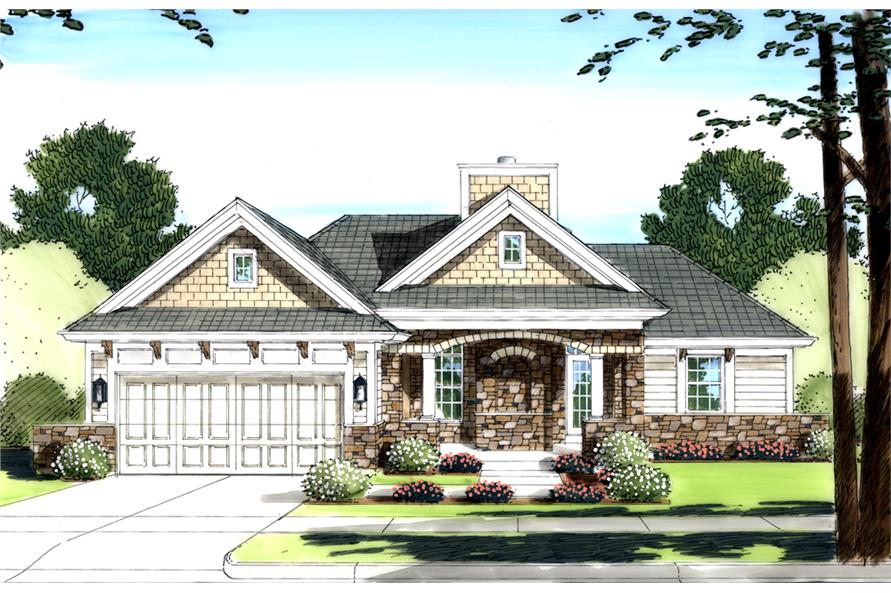 Front elevation of Contemporary home (ThePlanCollection: House Plan #169-1090)