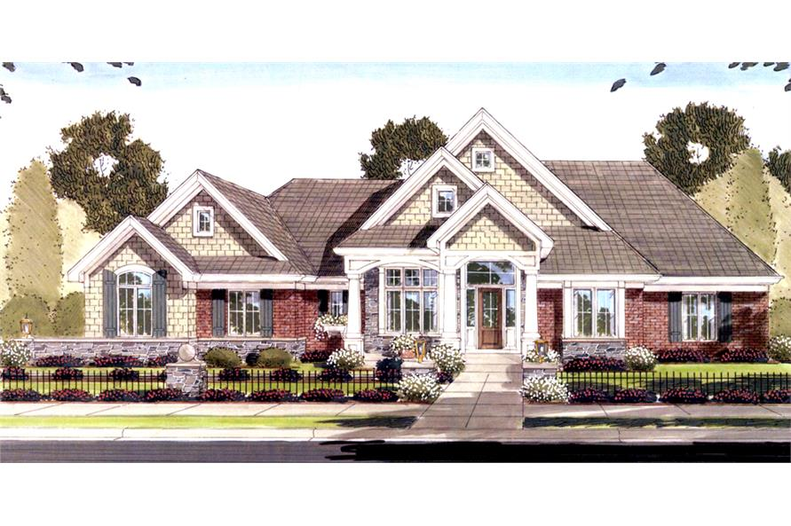 Front elevation of Craftsman home (ThePlanCollection: House Plan #169-1092)
