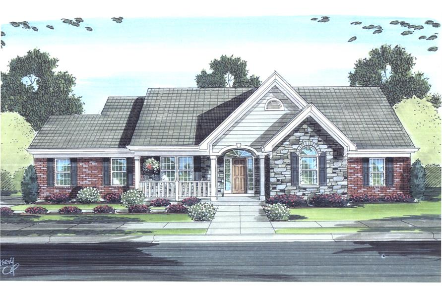Front elevation of Cottage home (ThePlanCollection: House Plan #169-1095)
