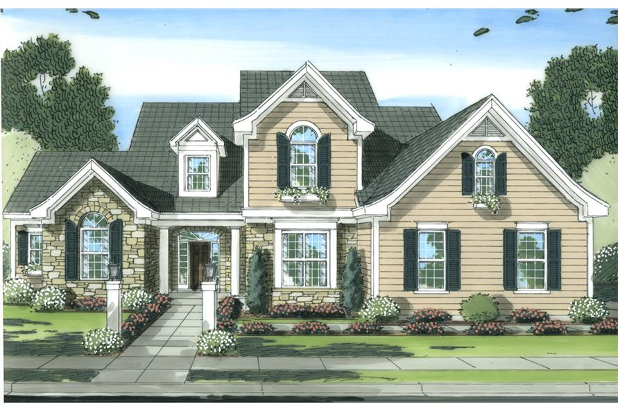 Front elevation of Traditional home (ThePlanCollection: House Plan #169-1096)