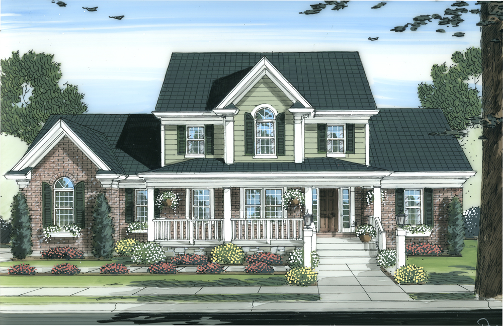 Colonial home plan 4 bedrms 2 5 baths 2326 sq ft for Traditional 2 story house