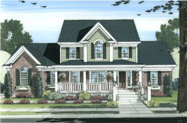 Front elevation of Colonial home (ThePlanCollection: House Plan #169-1098)