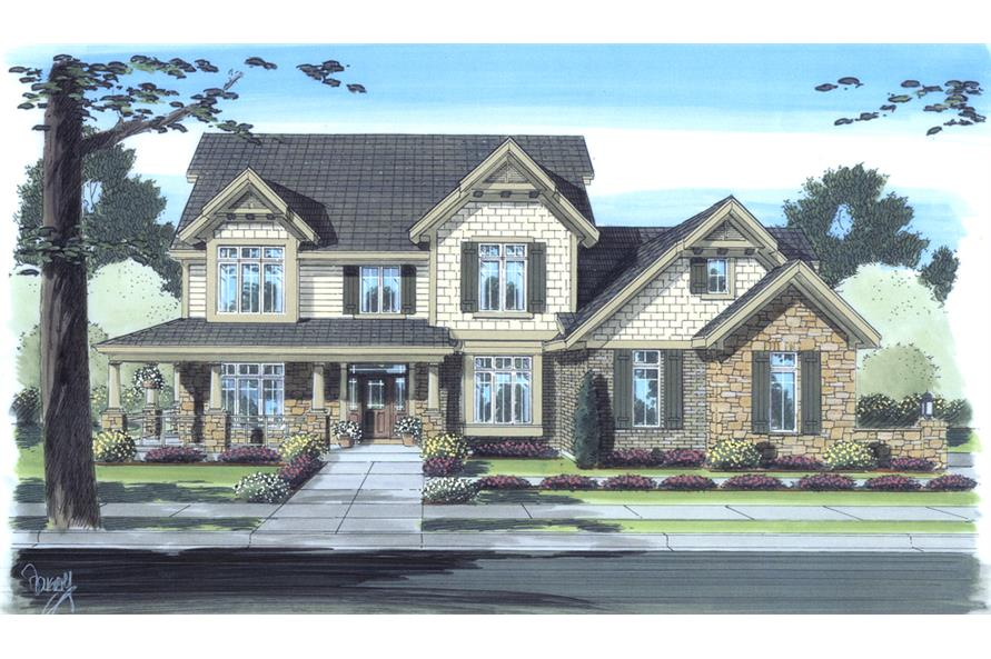 Front elevation of Craftsman home (ThePlanCollection: House Plan #169-1099)
