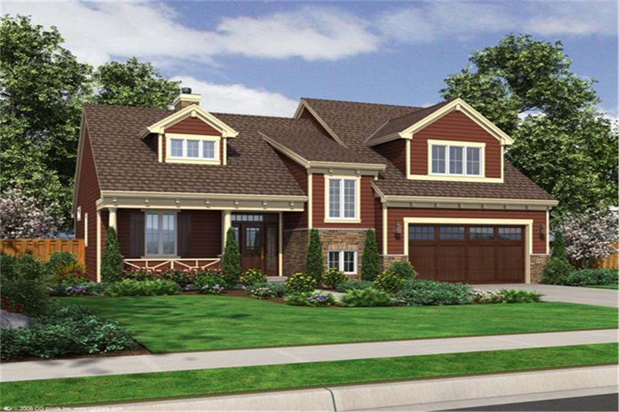 Front elevation of Craftsman home (ThePlanCollection: House Plan #169-1100)