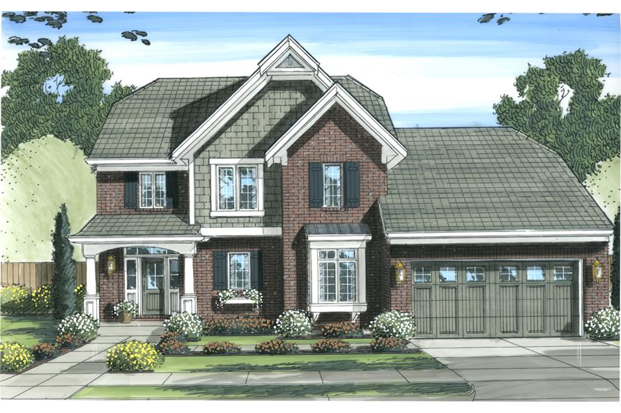 Front elevation of Traditional home (ThePlanCollection: House Plan #169-1101)