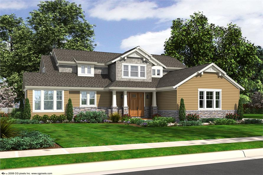 Front elevation of Craftsman home (ThePlanCollection: House Plan #169-1102)