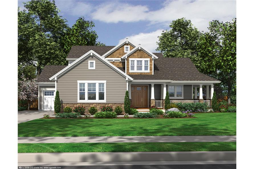 4-Bedroom, 2274 Sq Ft Craftsman House Plan - 169-1104 - Front Exterior