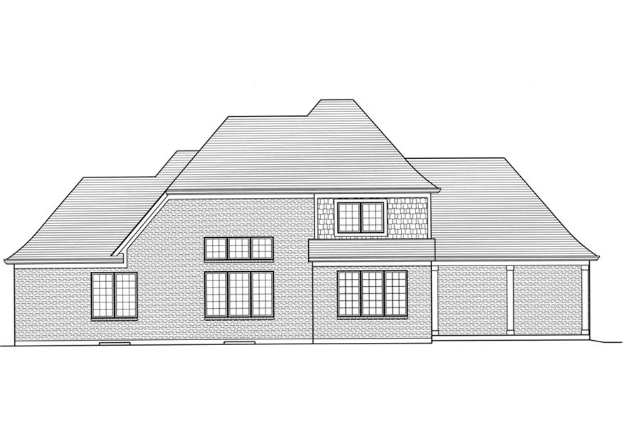 Home Plan Rear Elevation of this 4-Bedroom,2776 Sq Ft Plan -169-1106