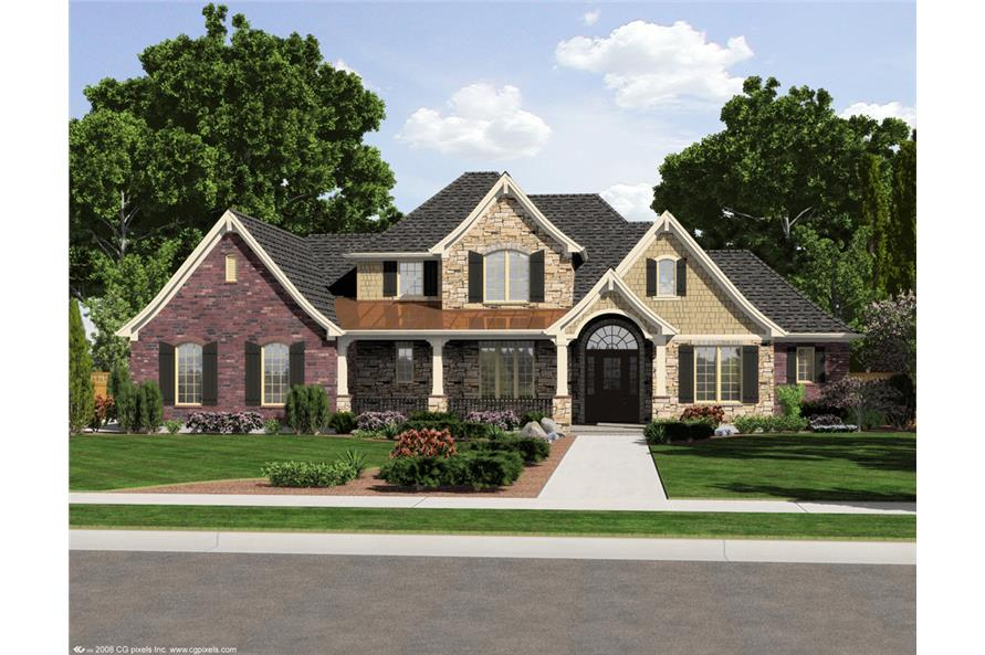 Front elevation of European home (ThePlanCollection: House Plan #169-1106)