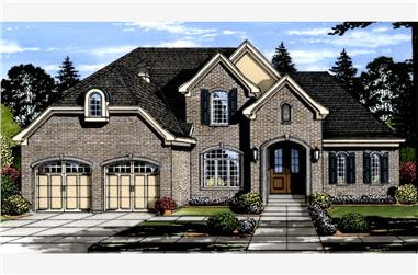 Front elevation of Craftsman home (ThePlanCollection: House Plan #169-1108)