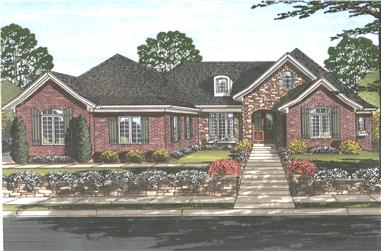 Front elevation of Luxury home (ThePlanCollection: House Plan #169-1109)