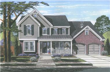 Front elevation of Luxury home (ThePlanCollection: House Plan #169-1113)