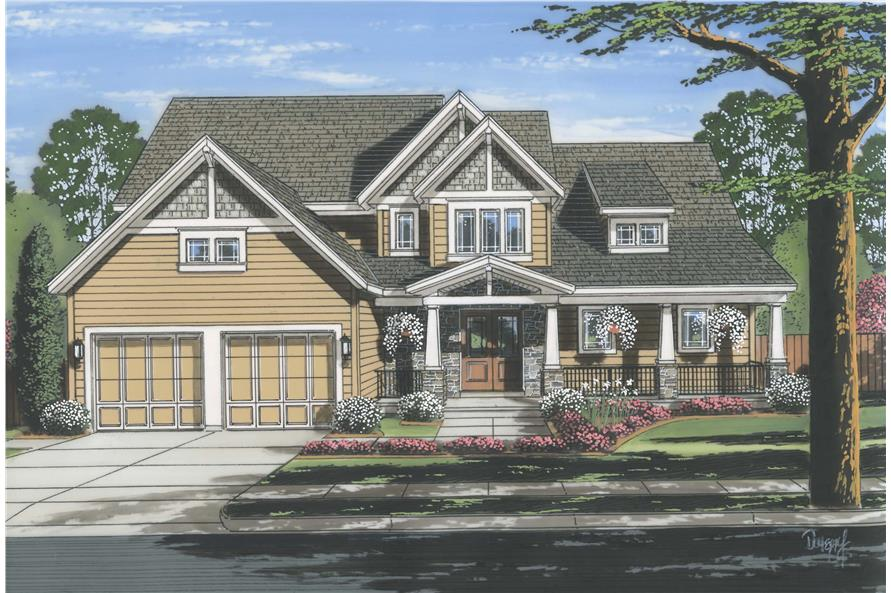 Front elevation of Luxury home (ThePlanCollection: House Plan #169-1114)