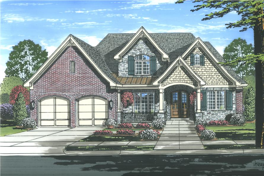 Front elevation of Luxury home (ThePlanCollection: House Plan #169-1116)