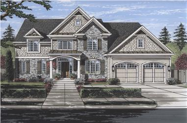 Front elevation of Luxury home (ThePlanCollection: House Plan #169-1117)