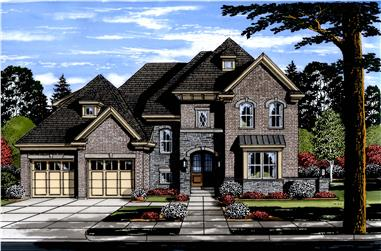 Front elevation of Luxury home (ThePlanCollection: House Plan #169-1120)