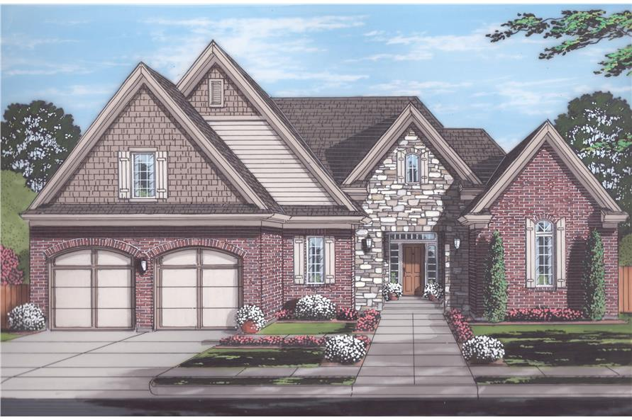 Front elevation of Traditional home (ThePlanCollection: House Plan #169-1121)