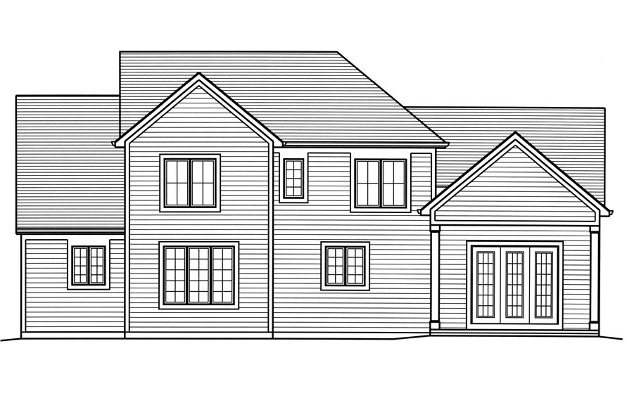 Home Plan Rear Elevation of this 4-Bedroom,2543 Sq Ft Plan -169-1124