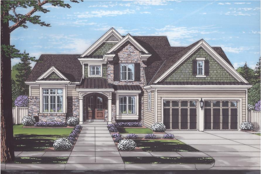 4-Bedroom, 2543 Sq Ft Transitional Home Plan - 169-1124 - Main Exterior
