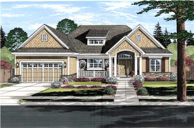 Color rendering of Craftsman home plan (ThePlanCollection: House Plan #169-1127)