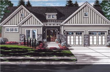 Color rendering of Craftsman home plan (ThePlanCollection: House Plan #169-1129)