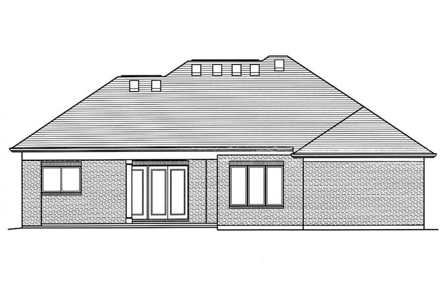 Home Plan Rear Elevation of this 3-Bedroom,2099 Sq Ft Plan -169-1130