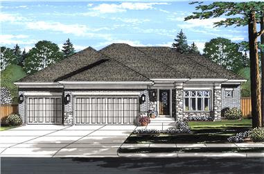 Front elevation of Contemporary home (ThePlanCollection: House Plan #169-1130)