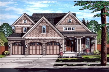 Front elevation of Craftsman home (ThePlanCollection: House Plan #169-1131)