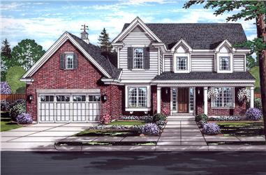 Front elevation of Traditional home (ThePlanCollection: House Plan #169-1132)