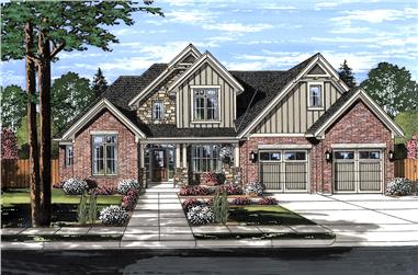 Front elevation of Craftsman home (ThePlanCollection: House Plan #169-1133)