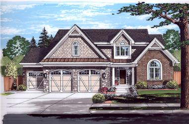Front elevation of Craftsman home (ThePlanCollection: House Plan #169-1134)