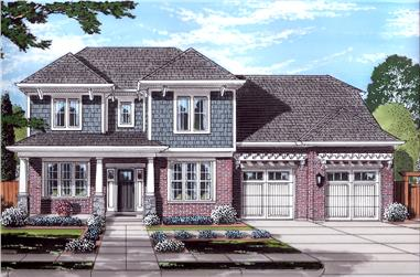 Front elevation of Craftsman home (ThePlanCollection: House Plan #169-1137)